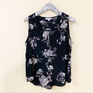Tempted Los Angeles Black Grey Floral Blouse 2X